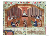 A Lesson in Theology at the Sorbonne, Illustration to Text Written by Nicolas De Lyre Giclee Print