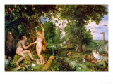 Adam and Eve in Paradise, circa 1610-15 Reproduction proc&#233;d&#233; gicl&#233;e par Jan Brueghel the Elder
