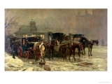 London Cab Stand, 1888 Reproduction procédé giclée par John Charles Dollman