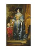 Queen Henrietta Maria and Her Dwarf Sir Jeffrey Hudson, circa 1633 Giclée-Druck von Sir Anthony Van Dyck