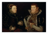 Lady Mary Neville and Her Son Gregory Fiennes, 10th Baron Dacre, 1559 Premium Giclee Print by Hans Eworth