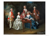 Group Portrait of the Harrach Family Playing Backgammon Including General Count Ferdinand Harrach Giclee Print by Johann Wilhelm Hoffnas