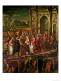 King Henri III (1551-89) of France Visiting Venice in 1574, Escorted by Doge Alvise Mocenigo Giclee Print by Andrea Vicentino