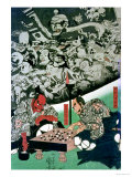 The Earth Spider Making Magic in the Palace of Raiko Premium Giclee Print by Kuniyoshi Utagawa