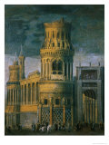Architectural Fantasy Depicting the Martyrdom of a Female Saint Giclee Print by Francois de Nome