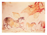 Rock Painting of Horses, C.17000 BC (Cave Painting) Giclee Print by  Prehistoric