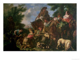 Group of Shepherds with a Horse Giclee Print by Domenico Brandi