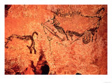 Rock Painting of a Hunting Scene, circa 17000 BC Giclee Print