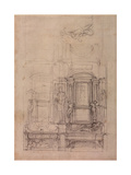 W.26R Design for the Medici Chapel in the Church of San Lorenzo, Florence (Charcoal) Giclee Print by Michelangelo Buonarroti