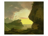 Sunset on the Coast Near Naples, circa 1785-90 Giclee Print by Joseph Wright of Derby
