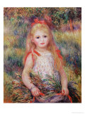 Little Girl Carrying Flowers, or the Little Gleaner, 1888 Reproduction proc&#233;d&#233; gicl&#233;e par Pierre-Auguste Renoir