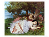 Girls on the Banks of the Seine, 1856-57 Giclee Print by Gustave Courbet