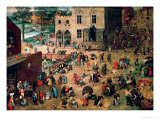 Children&#39;s Games (Kinderspiele), 1560 Reproduction proc&#233;d&#233; gicl&#233;e par Pieter Bruegel the Elder