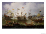 The Return to Amsterdam of the Fleet of the Dutch East India Company in 1599 Giclee Print by Andries van Eertvelt