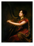 The Marchioness of Northampton, Playing a Harp, circa 1820 Giclee Print by Sir Henry Raeburn