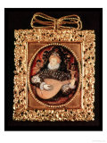 Queen Elizabeth I Playing the Lute (Miniature) Giclee Print by Nicholas Hilliard