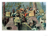 "Boston Tea Party, the ""Boston Boys"" Throwing the Taxed Tea into the Charles River, 1773 Giclee Print"