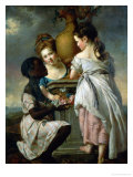 A Conversation Between Girls, or Two Girls with Their Black Servant, 1770 Giclee Print by Joseph Wright of Derby
