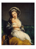 Self Portrait in a Turban with Her Child, 1786 Giclée-tryk af Elisabeth Louise Vigee-LeBrun