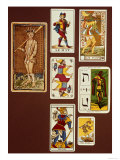 0 the Fool, Seven Tarot Cards from Different Packs Giclee Print