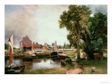 Dedham Lock and Mill, 1820 Premium Giclee Print by John Constable