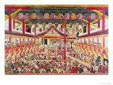 Interior of a Kabuki Theatre, circa 1745 Giclee Print by Okumura Masanobu