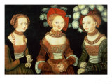 Three Princesses of Saxony, Sibylla (1515-92), Emilia (1516-91) and Sidonia (1518-75) Giclee Print by Lucas Cranach the Elder