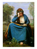 The Reader Crowned with Flowers, or Virgil's Muse, 1845 Giclée-tryk af Jean-Baptiste-Camille Corot