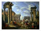 Roman Ruins with a Prophet, 1751 Impression giclée par Giovanni Paolo Pannini