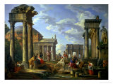 Roman Ruins with a Prophet, 1751 Giclee Print by Giovanni Paolo Pannini
