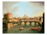 A View of Rome with the Bridge and Castel St. Angelo by the Tiber Giclee Print by Vanvitelli (Gaspar van Wittel)