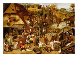 The Flemish Proverbs (Oil on Canvas) Giclee Print by Pieter the Younger Brueghel
