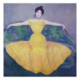 Lady in a Yellow Dress, 1899 Giclee Print by Max Kurzweil