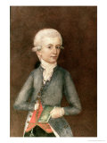 Wolfgang Amadeus Mozart, circa 1780 (Miniature) (Gouache, Tempera, Parchment) Giclee Print by Johann Nepomuk della Croce