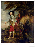 King Charles I (1600-49) of England out Hunting, circa 1635 Reproduction proc&#233;d&#233; gicl&#233;e par Sir Anthony Van Dyck