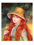 Young Girl with Long Hair, or Young Girl in a Straw Hat, 1884 Giclee Print by Pierre-Auguste Renoir