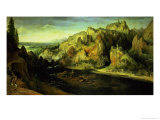 Mountain Landscape with a Surprise Attack, circa 1585 Giclée-Druck von Lucas van Valckenborch