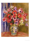 Vase of Tulips and Anemones, circa 1895 Giclée-tryk af Pierre-Auguste Renoir