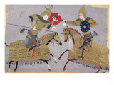 Two Warriors on Horseback in Combat, School of Tabriz, circa 1480 Giclee Print