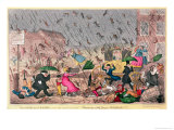 "Very Unpleasant Weather, or the Old Saying Verified ""Raining Cats, Dogs and Pitchforks!"" Giclee Print by George Cruikshank"