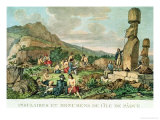Islanders and Monuments of Easter Island, from the Atlas De Voyage De La Perouse, 1785-88 Giclee Print by Gaspard Duche de Vancy