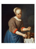 Young Girl with a Pestle and Mortar Giclee Print by Gabriel Metsu