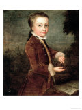 Portrait of Wolfgang Amadeus Mozart (1756-91) Aged Eight, Holding a Bird's Nest, 1764-65 Giclee Print by Johann Zoffany