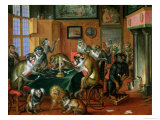 The Smoking Room with Monkeys Giclee Print by Abraham Teniers
