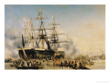 King Louis-Philippe (1830-48) Disembarking at Portsmouth, 8th October 1844, 1846 Giclee Print by Louis Eugene Gabriel Isabey