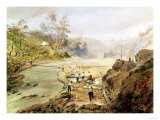 Fortyniners' Washing Gold from the Calaveres River, California, 1858 Giclee Print