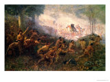 The Shooting of General Braddock at Fort Duquesne (Pittsburgh), 1755 Premium Giclee Print by Edwin Willard Deming