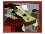 Guitar and Newspaper, 1925 Impresso gicle por Juan Gris