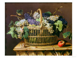 A Basket of Grapes Premium Giclee Print by Pierre Dupuis