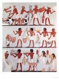Scene of Butchers and Servants Bringing Offerings, from the Tomb of Onsou, circa 1375 BC Giclee Print